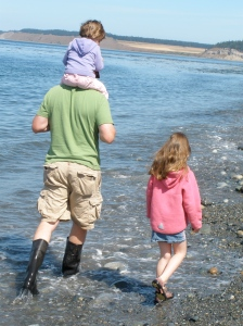 The girls and I looking for rocks on the way to the tide pools.