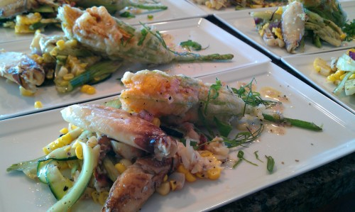 Tempura Blossoms with a summer salad of grilled sweet corn, fennel, spring onion & yuzu vinaigrette